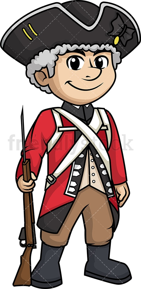 British redcoat soldier with musket. PNG - JPG and vector EPS (infinitely scalable).