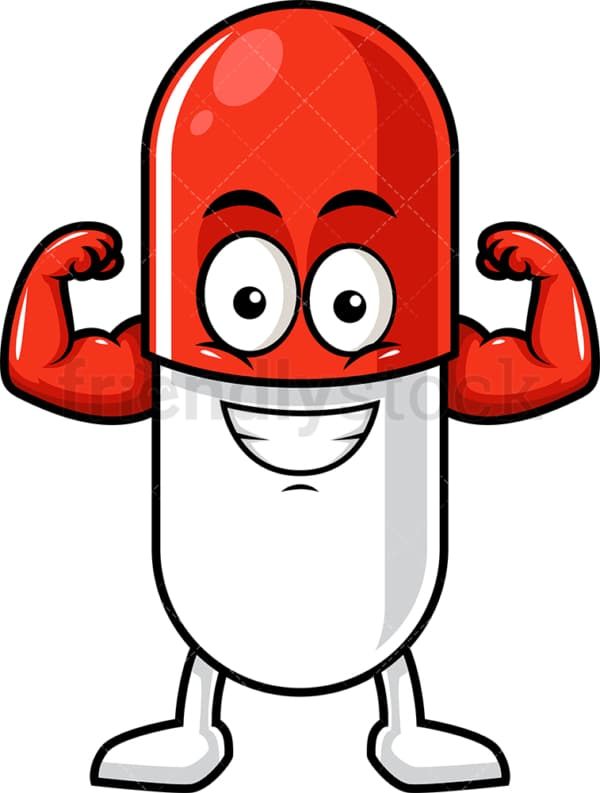 Capsule pill character flexing muscles. PNG - JPG and vector EPS (infinitely scalable).