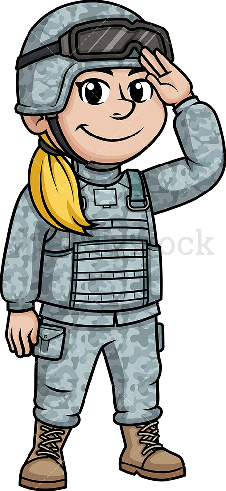 Female soldier saluting. PNG - JPG and vector EPS (infinitely scalable). Image isolated on transparent background.