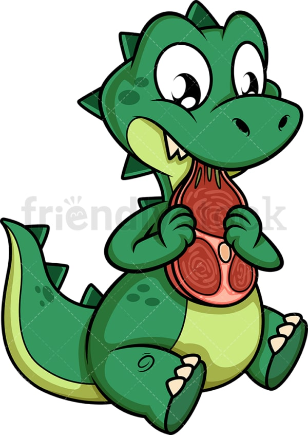 Green dinosaur eating meat. PNG - JPG and vector EPS (infinitely scalable).