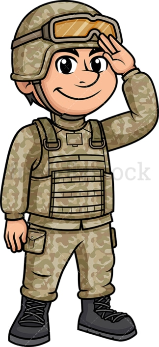 Male soldier saluting. PNG - JPG and vector EPS (infinitely scalable). Image isolated on transparent background.