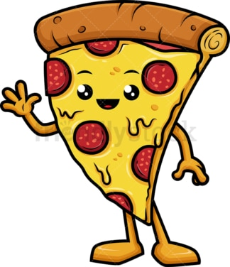 Pizza character waving hello. PNG - JPG and vector EPS (infinitely scalable).