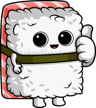 Sushi character thumbs up. PNG - JPG and vector EPS (infinitely scalable).