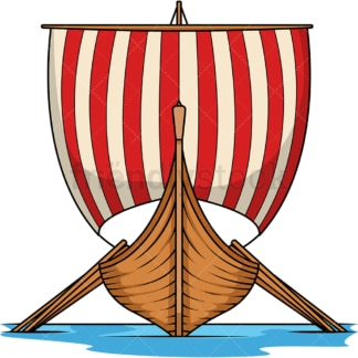 Viking longboat front view. PNG - JPG and vector EPS (infinitely scalable). Image isolated on transparent background.