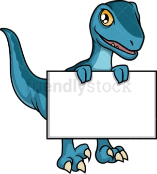 Dinosaur holding blank sign. PNG - JPG and vector EPS (infinitely scalable).