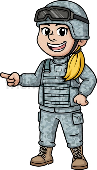 Female soldier pointing to the side. PNG - JPG and vector EPS (infinitely scalable). Image isolated on transparent background.