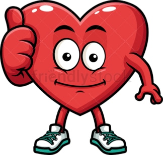 Heart character thumbs up. PNG - JPG and vector EPS (infinitely scalable). Image isolated on transparent background.