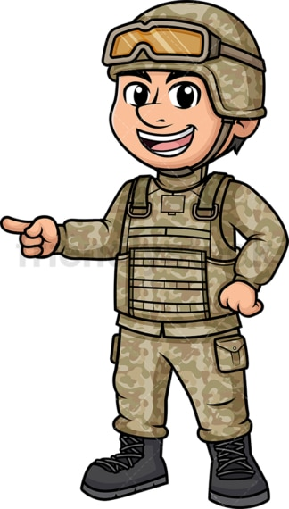 Male soldier pointing sideways. PNG - JPG and vector EPS (infinitely scalable). Image isolated on transparent background.