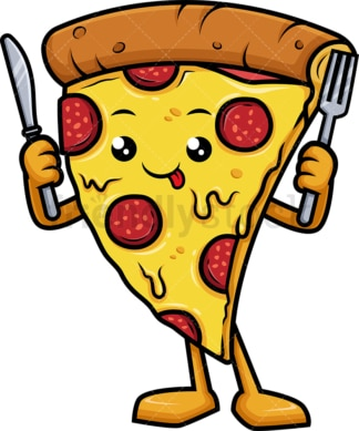 Pizza mascot holding fork and knife. PNG - JPG and vector EPS (infinitely scalable).