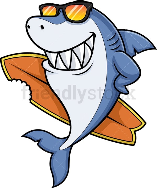 Surfer shark holding surfboard. PNG - JPG and vector EPS (infinitely scalable).
