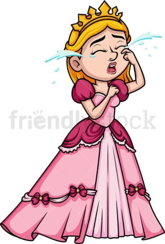 Crying princess. PNG - JPG and vector EPS (infinitely scalable). Image isolated on transparent background.