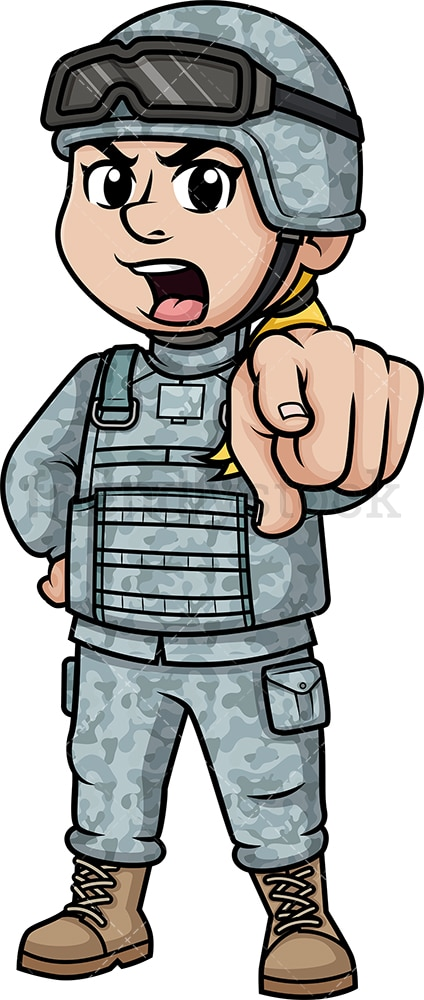 Female soldier shouting. PNG - JPG and vector EPS (infinitely scalable). Image isolated on transparent background.