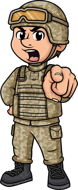 Furious male soldier yelling. PNG - JPG and vector EPS (infinitely scalable). Image isolated on transparent background.