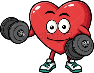 Heart lifting weights. PNG - JPG and vector EPS (infinitely scalable). Image isolated on transparent background.