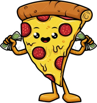 Pizza character holding money. PNG - JPG and vector EPS (infinitely scalable).