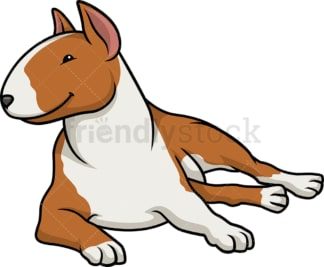 Red bull terrier lying down. PNG - JPG and vector EPS (infinitely scalable).