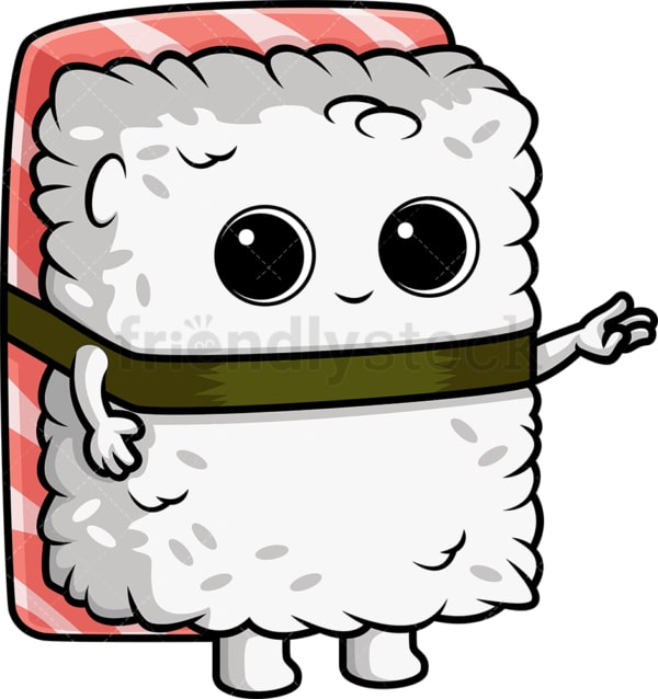 Sushi character pointing to the side. PNG - JPG and vector EPS (infinitely scalable).