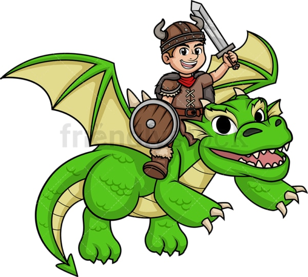 Viking riding dragon. PNG - JPG and vector EPS (infinitely scalable). Image isolated on transparent background.