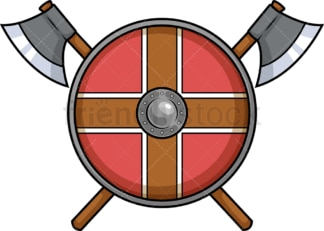 Viking shield with axes. PNG - JPG and vector EPS (infinitely scalable). Image isolated on transparent background.