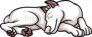American female white doberman sleeping. PNG - JPG and vector EPS (infinitely scalable).