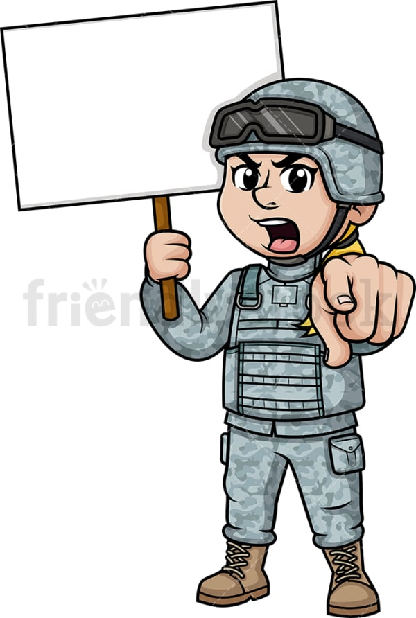Female soldier holding blank sign. PNG - JPG and vector EPS (infinitely scalable). Image isolated on transparent background.