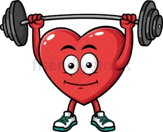 Heart lifting barbell. PNG - JPG and vector EPS (infinitely scalable). Image isolated on transparent background.