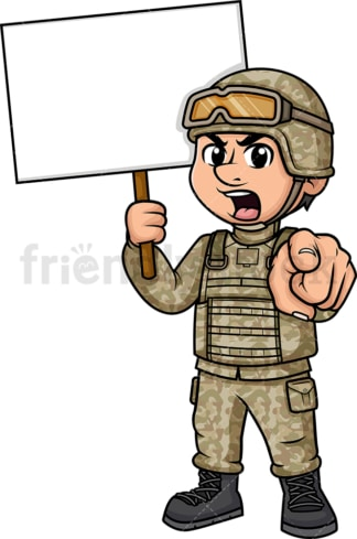 Male soldier holding empty sign. PNG - JPG and vector EPS (infinitely scalable). Image isolated on transparent background.