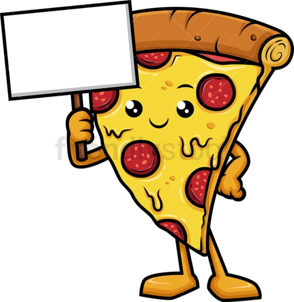 Pizza character holding blank sign. PNG - JPG and vector EPS (infinitely scalable).