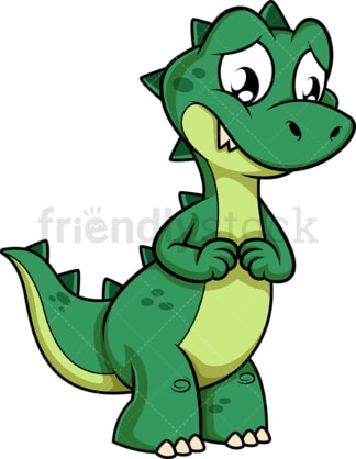 Sad green dinosaur. PNG - JPG and vector EPS (infinitely scalable).