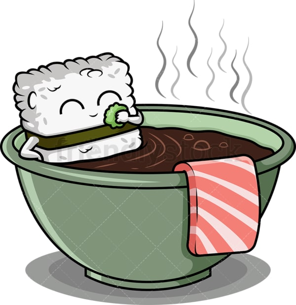 Sushi character bathing in soup bowl. PNG - JPG and vector EPS (infinitely scalable).