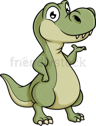Cute dinosaur presenting. PNG - JPG and vector EPS (infinitely scalable).