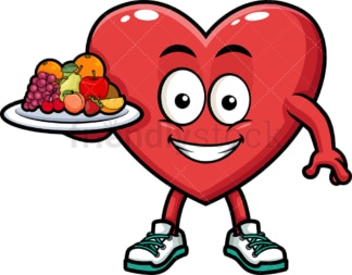 Heart holding healthy foods. PNG - JPG and vector EPS (infinitely scalable). Image isolated on transparent background.