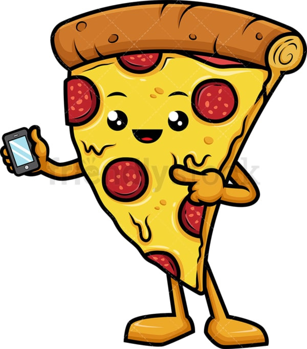 Pizza character holding mobile phone. PNG - JPG and vector EPS (infinitely scalable).