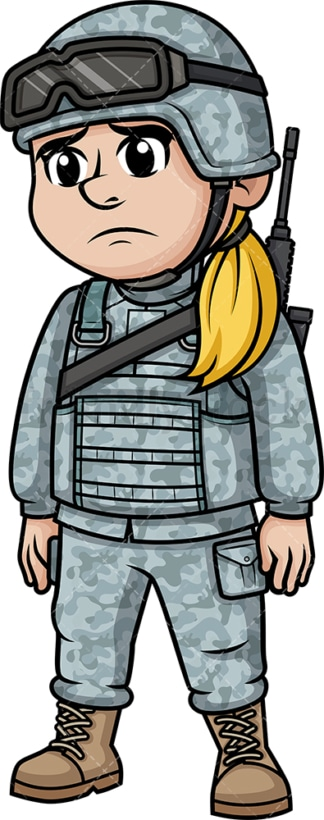 Sad female soldier. PNG - JPG and vector EPS (infinitely scalable). Image isolated on transparent background.