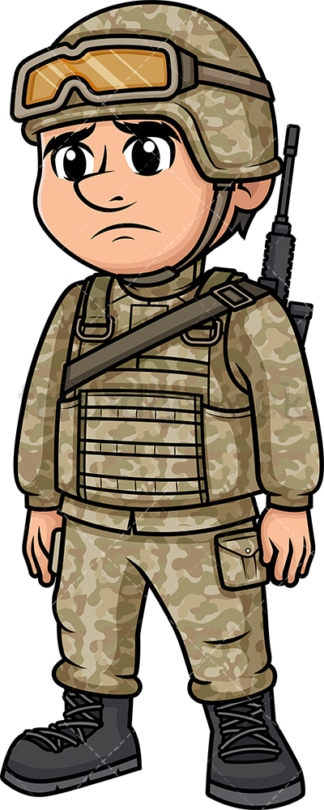 Sad male soldier. PNG - JPG and vector EPS (infinitely scalable). Image isolated on transparent background.