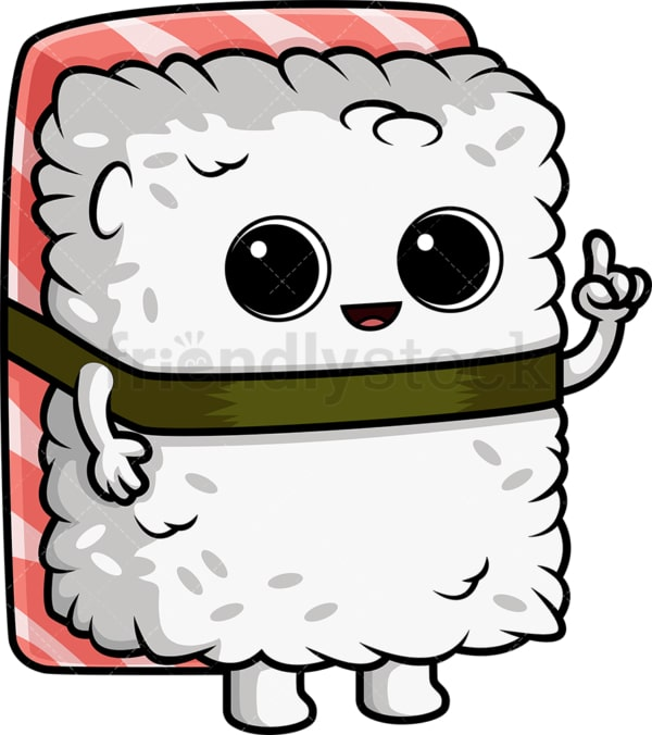 Sushi character pointing up. PNG - JPG and vector EPS (infinitely scalable).