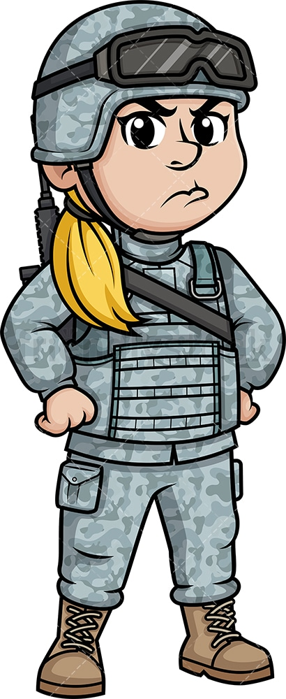Angry female soldier. PNG - JPG and vector EPS (infinitely scalable). Image isolated on transparent background.