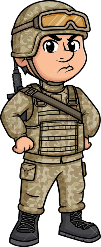 Angry male soldier. PNG - JPG and vector EPS (infinitely scalable). Image isolated on transparent background.