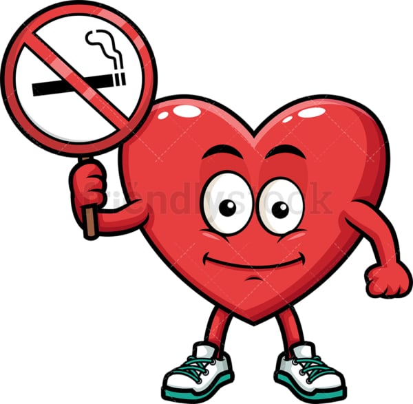 Heart holding no smoking sign. PNG - JPG and vector EPS (infinitely scalable). Image isolated on transparent background.