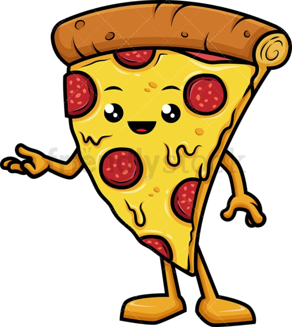 Pizza character presenting. PNG - JPG and vector EPS (infinitely scalable).