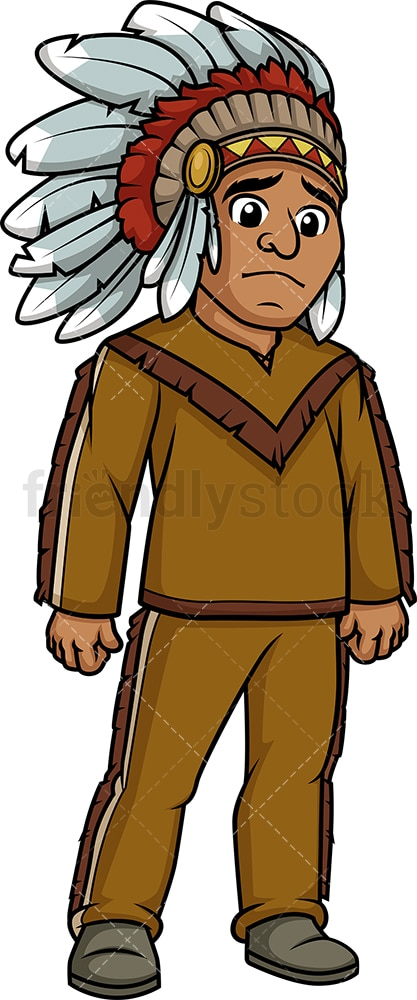 Sad native american indian man. PNG - JPG and vector EPS (infinitely scalable).
