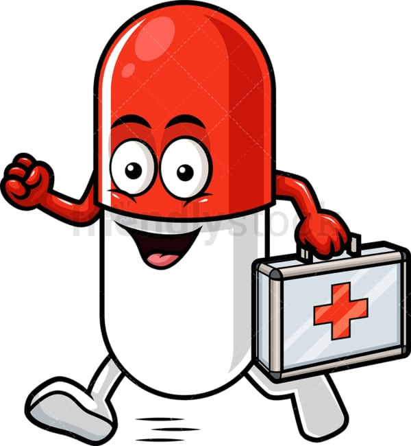 Capsule pill character medic. PNG - JPG and vector EPS (infinitely scalable).