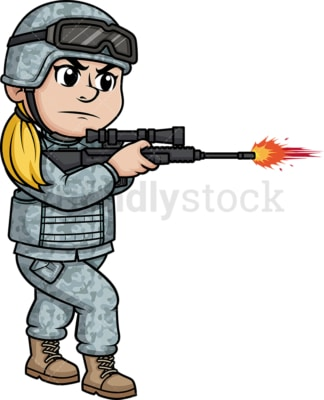 Female soldier firing her rifle. PNG - JPG and vector EPS (infinitely scalable). Image isolated on transparent background.