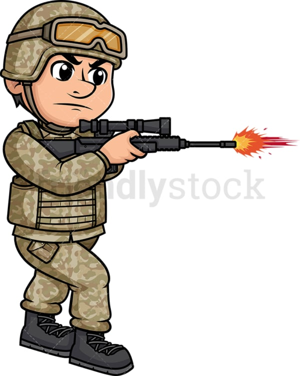 Male soldier firing with his weapon. PNG - JPG and vector EPS (infinitely scalable). Image isolated on transparent background.