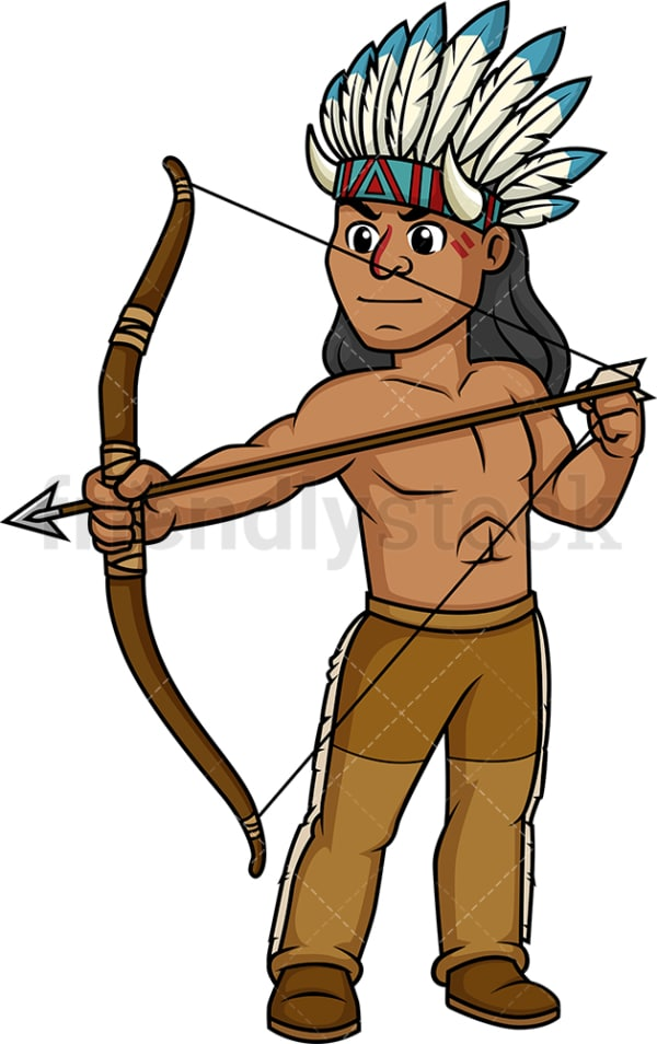 Native american indian archer. PNG - JPG and vector EPS (infinitely scalable).