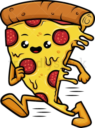 Pizza character running fast. PNG - JPG and vector EPS (infinitely scalable).