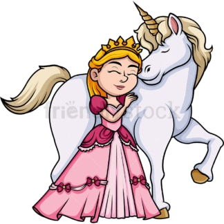 Princess hugging unicorn. PNG - JPG and vector EPS (infinitely scalable). Image isolated on transparent background.