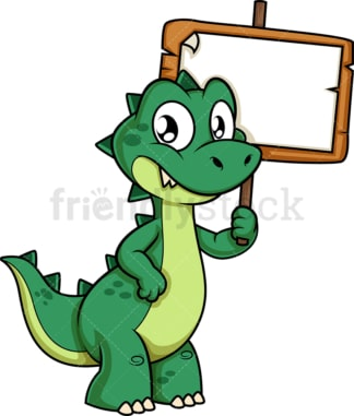 Green dinosaur holding empty sign. PNG - JPG and vector EPS (infinitely scalable).