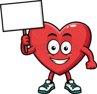 Heart holding empty sign. PNG - JPG and vector EPS (infinitely scalable). Image isolated on transparent background.