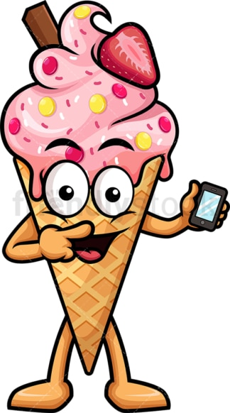 Ice cream holding mobile phone. PNG - JPG and vector EPS (infinitely scalable).